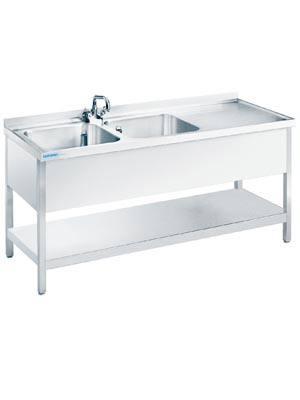 chromonorm sp ltisch mit 2 becken zwischenboden 600 mm tiefe. Black Bedroom Furniture Sets. Home Design Ideas
